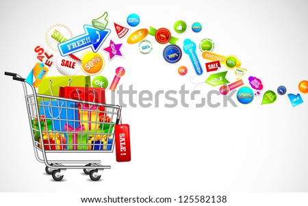 illustration of cart full of shopping bag and gift box with sale tag - stock vector