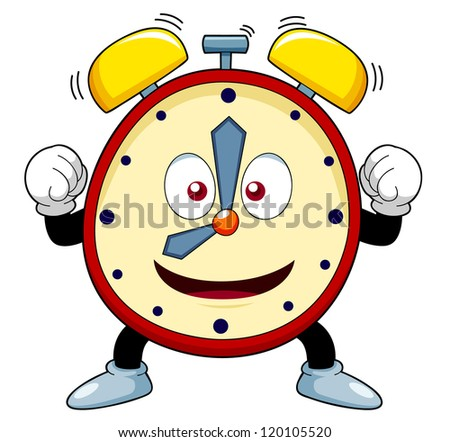 illustration of Cartoon alarm clock - stock vector