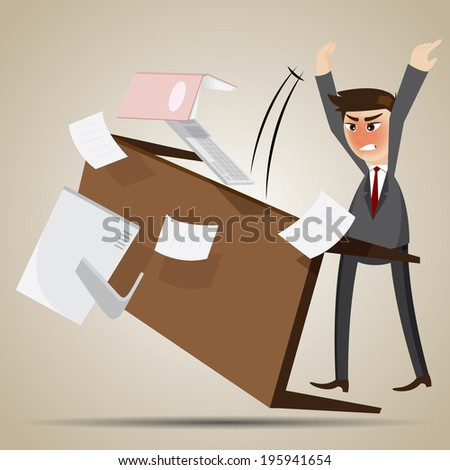 illustration of cartoon angry businessman flipping table in work overload concept - stock vector