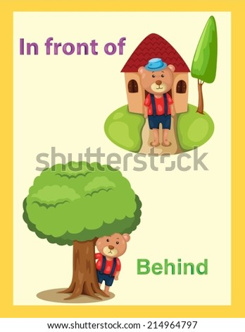 illustration of  cartoon bear with vocabulary in front of and behind