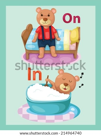 illustration of  cartoon bear with vocabulary on and in