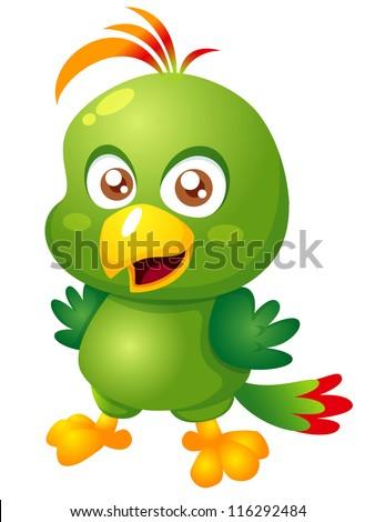 illustration of Cartoon bird.Vector - stock vector