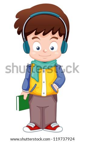 illustration of Cartoon Boy listen music vector - stock vector