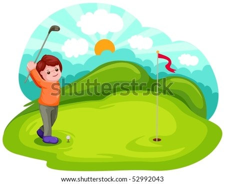 illustration of cartoon boy playing golf - stock vector