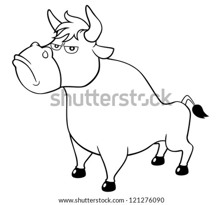 illustration of cartoon bull.Coloring book - stock vector