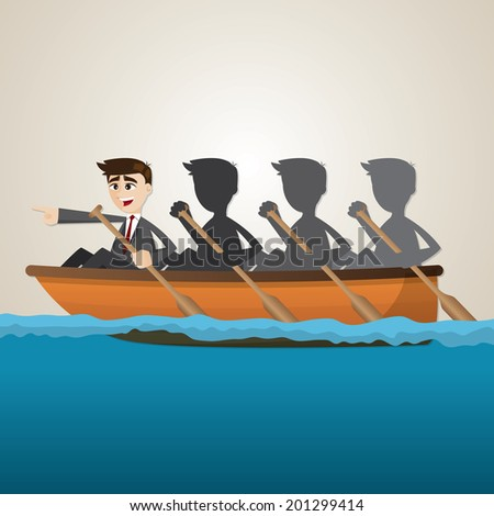 illustration of cartoon business team rowing on sea in teamwork concept - stock vector