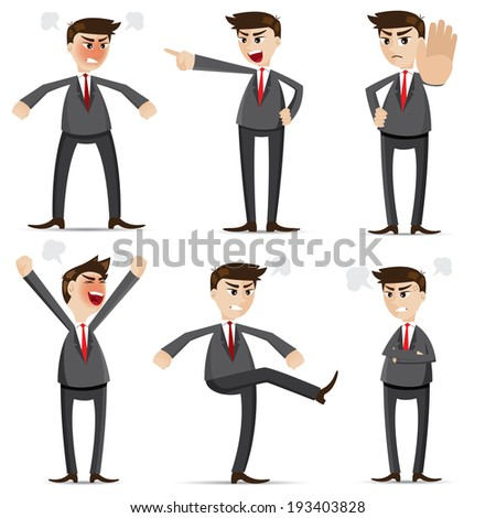 illustration of cartoon businessman angry set - stock vector
