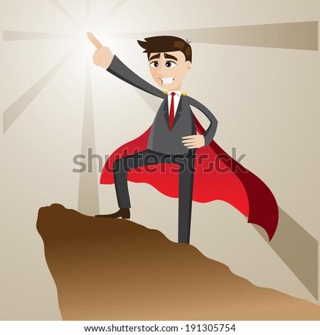 illustration of cartoon businessman as leader form - stock vector