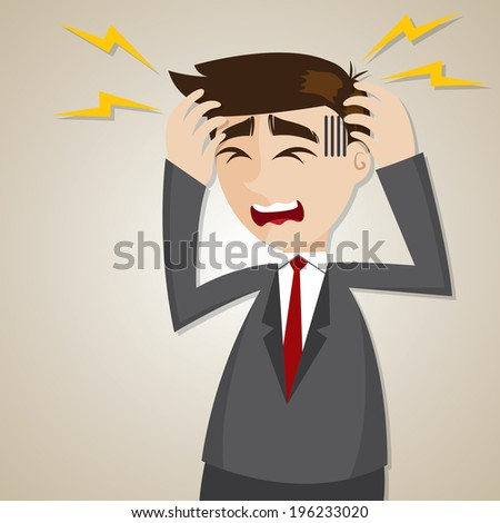 illustration of cartoon businessman headache in office syndrome concept - stock vector