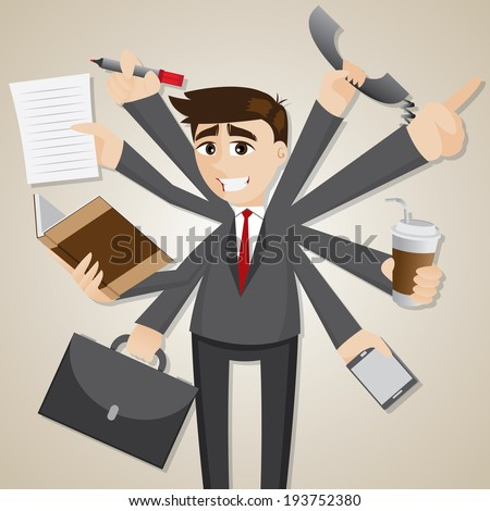 illustration of cartoon businessman multi tasking - stock vector