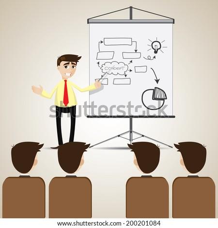 illustration of cartoon businessman presentation to audience - stock vector