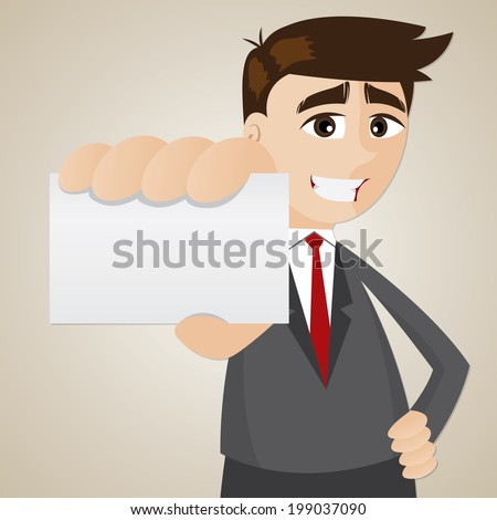 illustration of cartoon businessman showing blank name card - stock vector