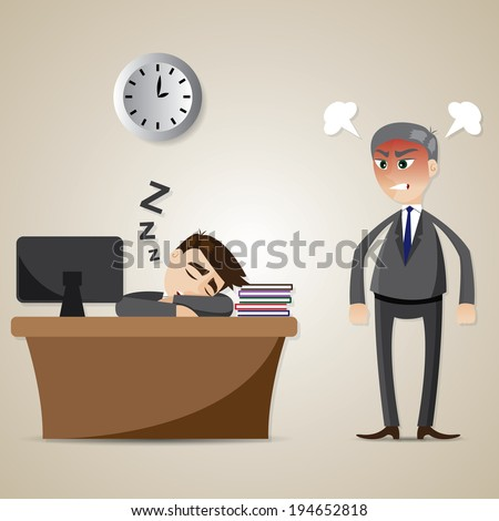 illustration of cartoon businessman sleeping and angry boss in lazy worker concept - stock vector
