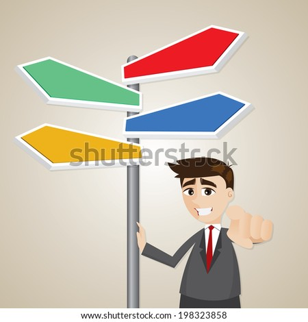 illustration of cartoon businessman standing with signage - stock vector