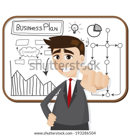 illustration of cartoon businessman with business plan - stock vector