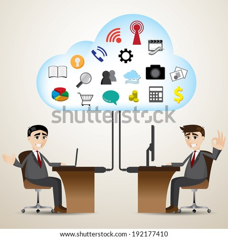 illustration of cartoon businessman with cloud computer connecting - stock vector