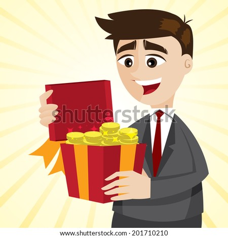 illustration of cartoon businessman with gold coins in gift box in bonus concept - stock vector