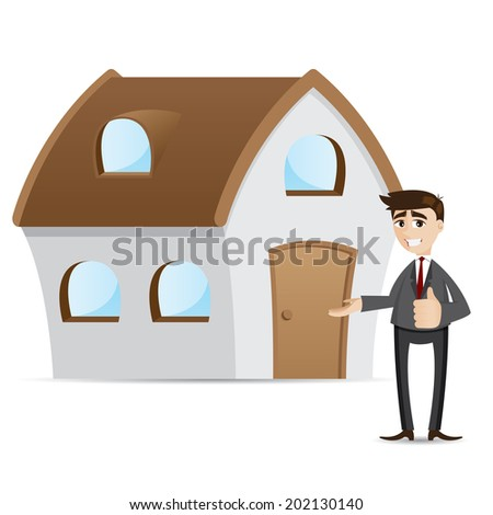 illustration of cartoon businessman with house in property concept - stock vector