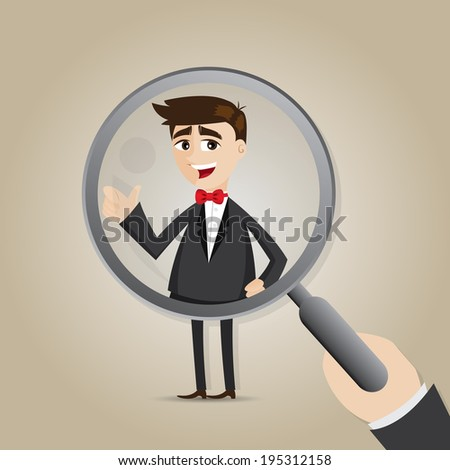illustration of cartoon businessman with magnifier in recruitment concept