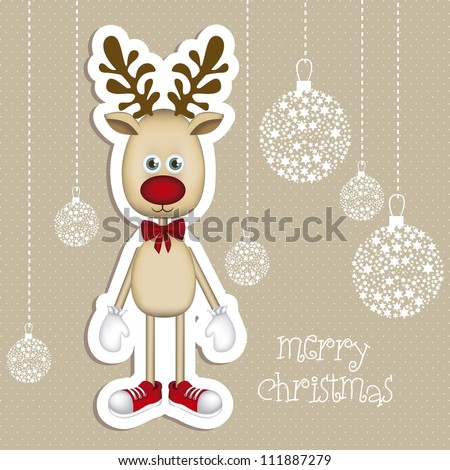 Illustration of cartoon Christmas Reindeer, Rudolph the reindeer, vector illustration