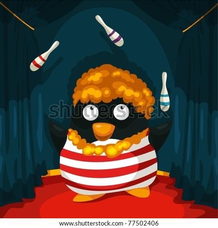illustration of cartoon clown penguin juggling - stock vector