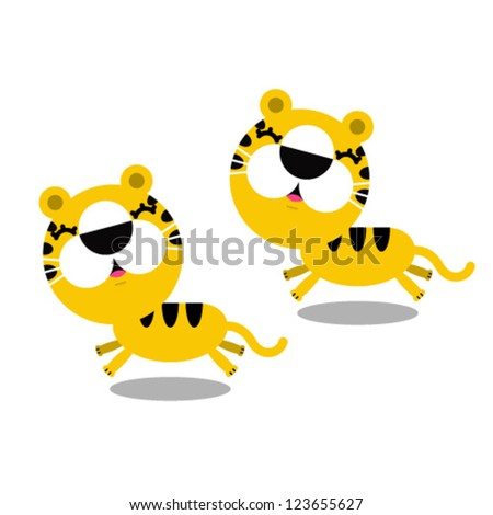 illustration of cartoon cute tigers