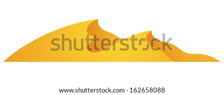 Illustration of Cartoon Dunes isolated on a white background - stock vector