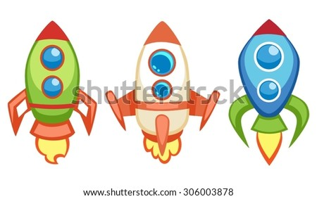 Illustration of cartoon flying spaceships for a game in different shapes and colors - stock vector