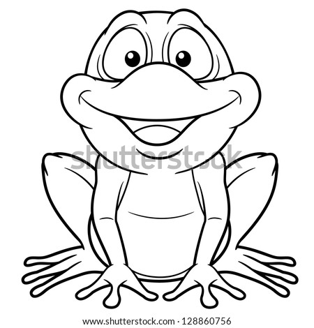 Illustration Cartoon Frog Coloring Book Stock Vector 128860756 ...