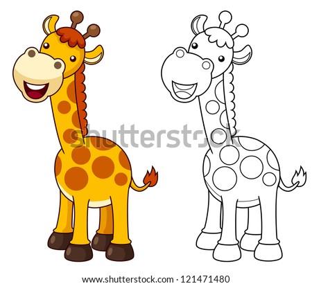 illustration of cartoon giraffe.Vector - stock vector