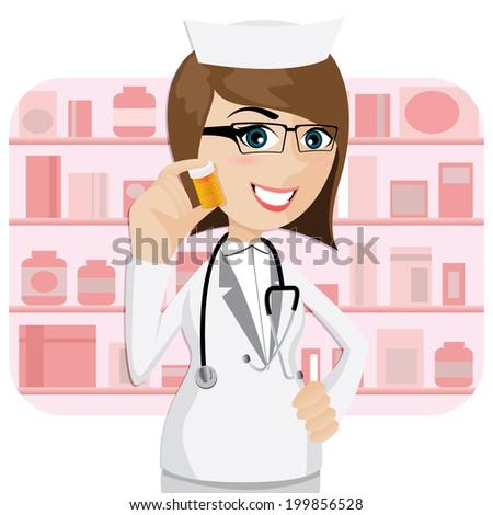 illustration of cartoon girl pharmacist showing medicine bottle - stock vector