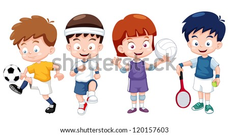 illustration of cartoon kids sports characters - Cartoon Pictures For Kids