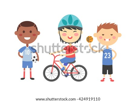 Illustration of cartoon kids sports characters. Sport kids childhood, team group happy person and sport kids outdoors play fun summer cute game. Sport kids cheerful kid vector sport game leisure. - stock vector