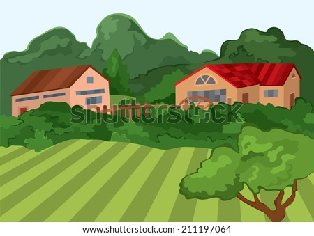 Illustration of cartoon landscape. Cartoon village houses with green field and trees.