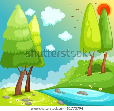 illustration of cartoon landscape countryside - stock vector