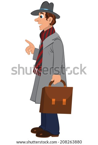 Illustration of cartoon male character isolated on white. Cartoon man in gray hat coat and briefcase.