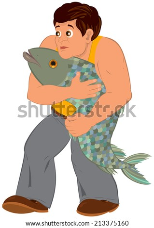 Illustration of cartoon male character isolated on white. Cartoon man in orange sleeveless top with big fish.