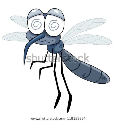 illustration of Cartoon Mosquito - stock vector