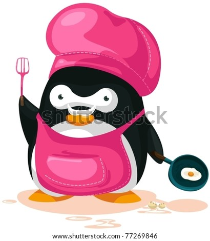 illustration of cartoon penguin cooking on white background - stock vector
