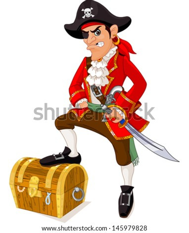 Illustration of cartoon pirate - stock vector