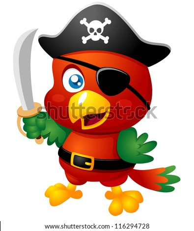 Illustration of Cartoon Pirate Parrot - stock vector