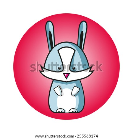illustration of cartoon rabbit vector, animal icon - stock vector