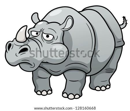 illustration of Cartoon rhino - stock vector