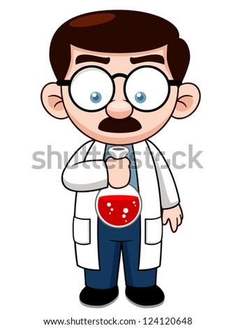 Illustration of Cartoon Scientist - stock vector