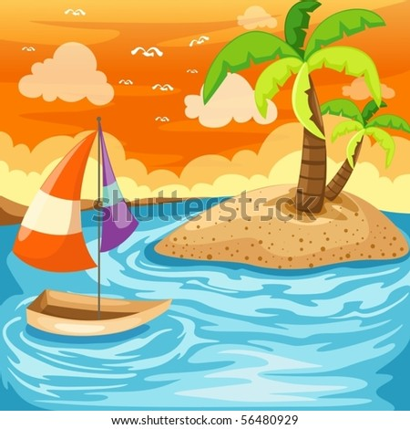 illustration of cartoon seascape