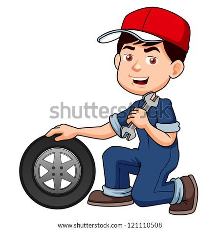 illustration of Cartoon serviceman - stock vector