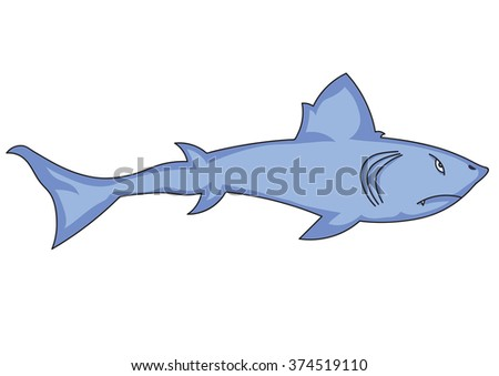 illustration of cartoon shark for the children's book