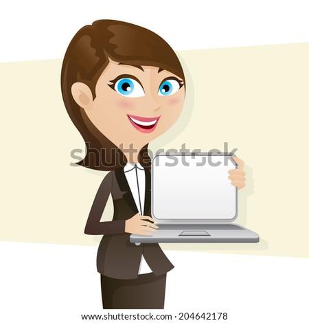 illustration of cartoon smart girl showing laptop blank screen - stock vector