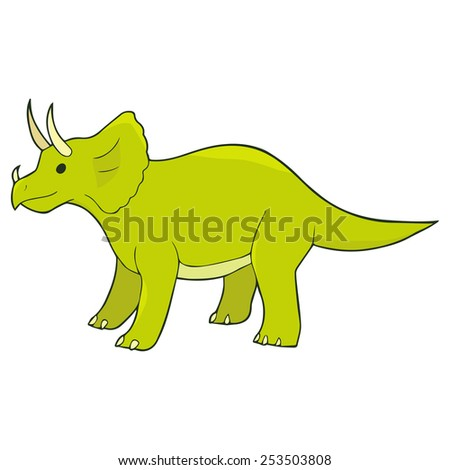 Illustration of cartoon standing triceratops - stock vector