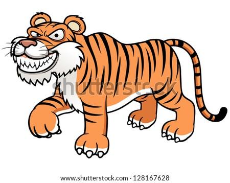 illustration of Cartoon tiger - stock vector